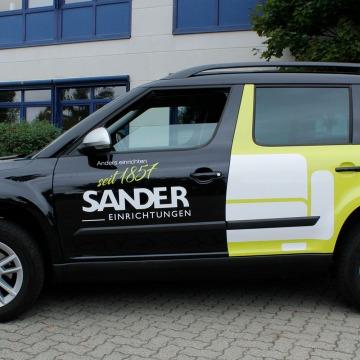 Fahrzeugbeschriftung Sander Seitenansicht